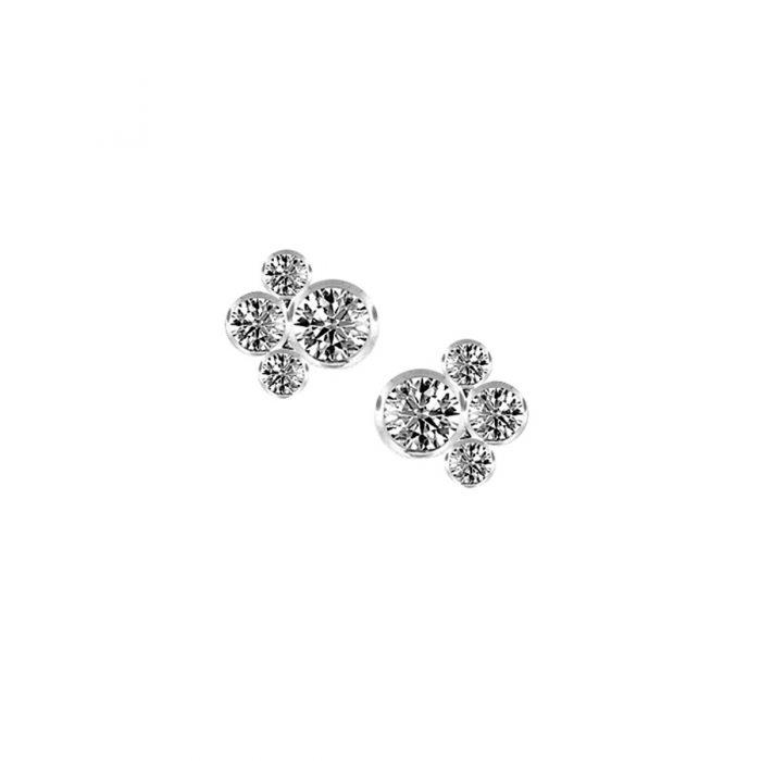 white gold scatter bubble earrings