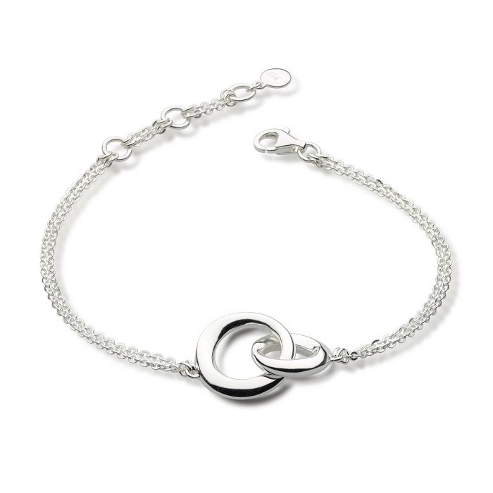 interlocking sterling silver circles bracelet with double chain