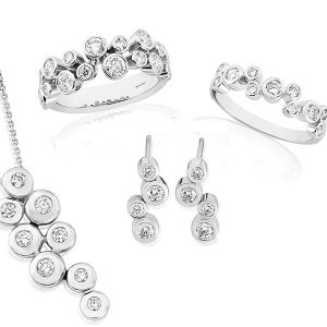 group of diamond jewellery including rings, necklaces and pendant