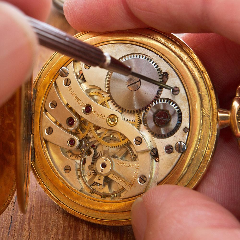 screwing internal mechanisms of watch